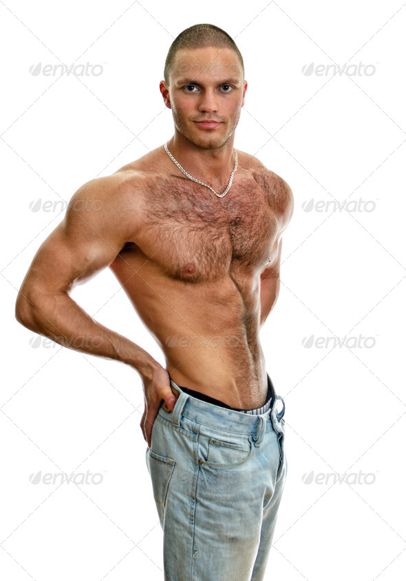 Attractive shirtless male in jeans, isolated on white - Stock Photo - Images