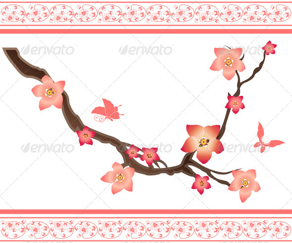 GraphicRiver Sakura elements and butterflies 2587976