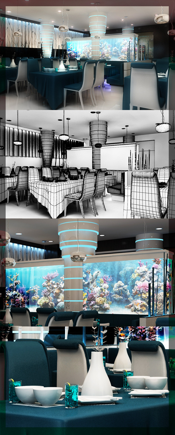 Restaurant_3d_interior_design_8080_105 - 3DOcean Item for Sale