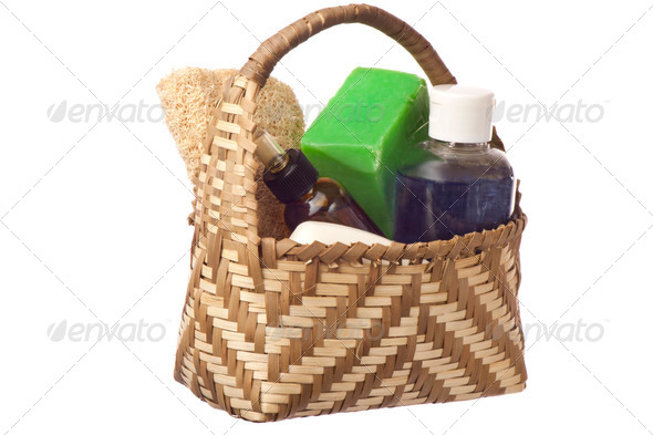 basket with products for personal hygiene - Stock Photo - Images