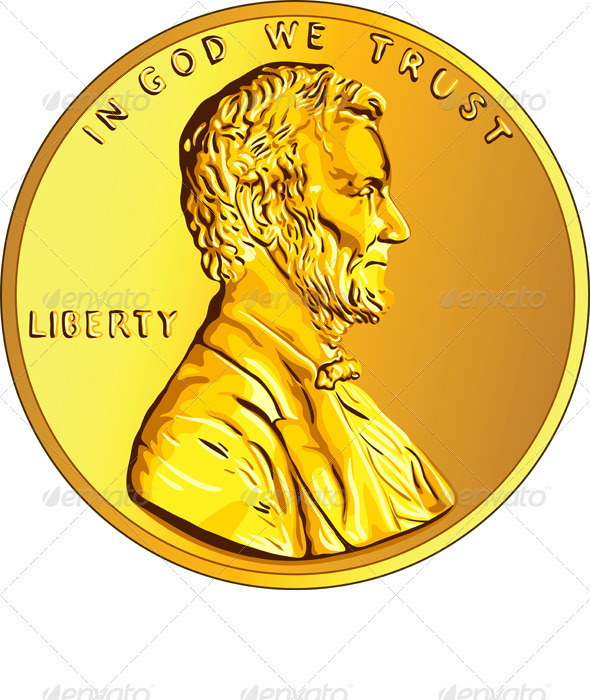 Vector American Money Gold Coin one Cent - Business Conceptual