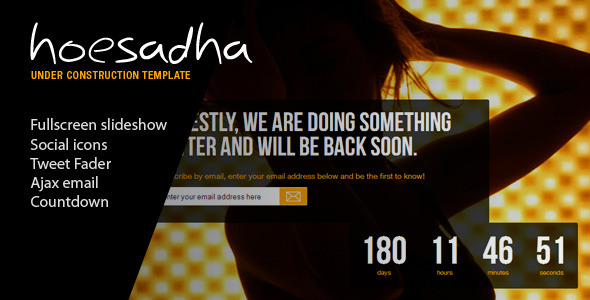 Hoesadha - Fullscreen Under Construction Template -