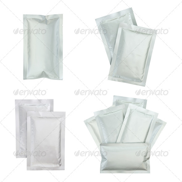Set of plastic package isolated on white - Stock Photo - Images