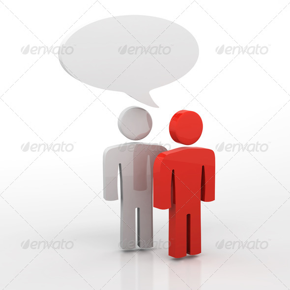 Discussion, blank speech bubbles, 3d people - Stock Photo - Images