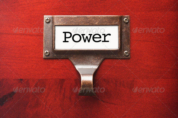 Lustrous Wooden Cabinet with Power File Label in Dramatic LIght. - Stock Photo - Images