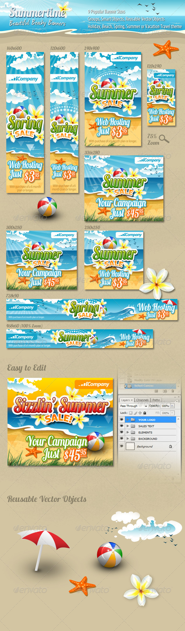 Summertime Banners - Banners & Ads Web Elements