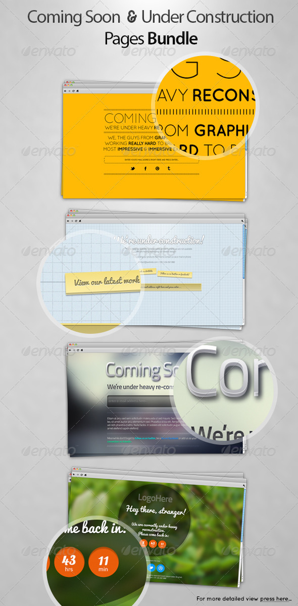 Coming Soon & Under Construction Pages Pack - Miscellaneous Web Elements