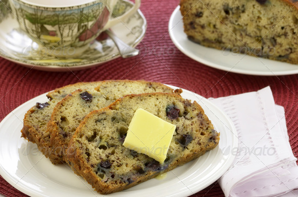 Blueberry banana bread - Stock Photo - Images