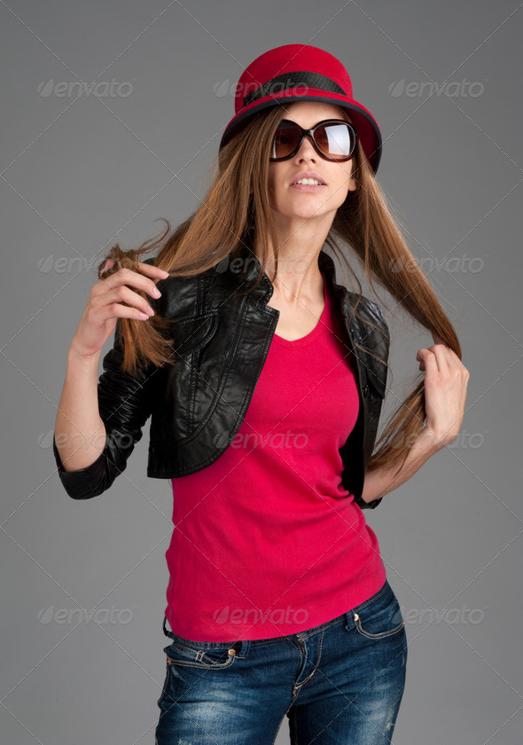 fashion beautiful girl with sunglasses - Stock Photo - Images