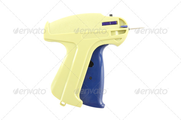 Labeling nail gun on white background. - Stock Photo - Images