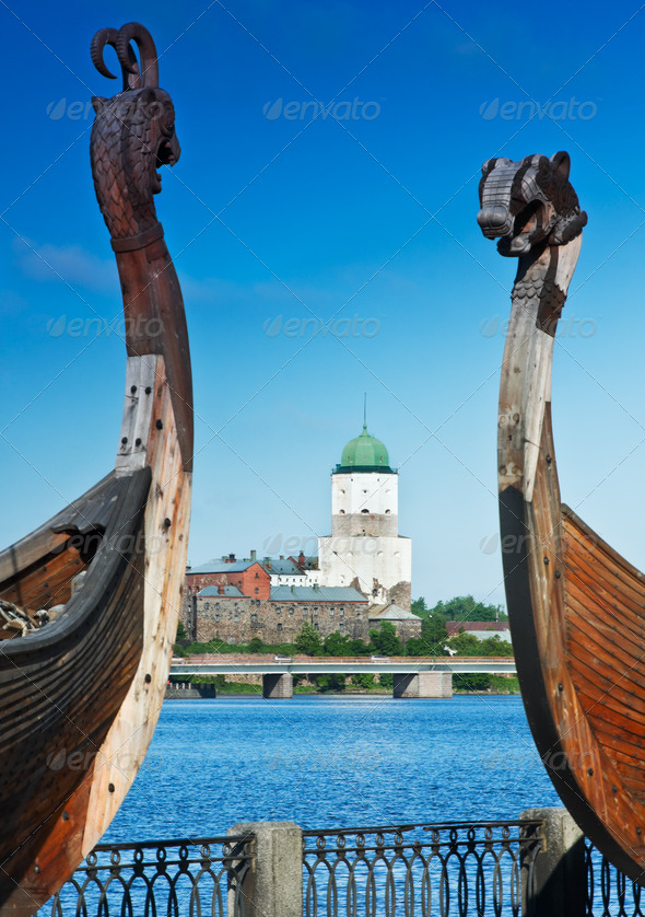 ancient castle in the background of Drakkar Viking in Vyborg - Stock Photo - Images