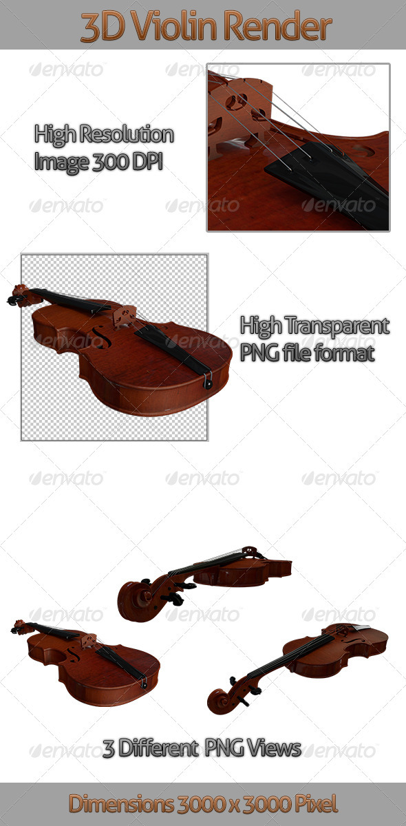 3D Violin Render - 3D Renders Graphics