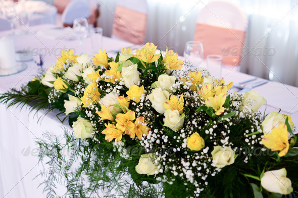 Flower decoration on wedding table - Stock Photo - Images
