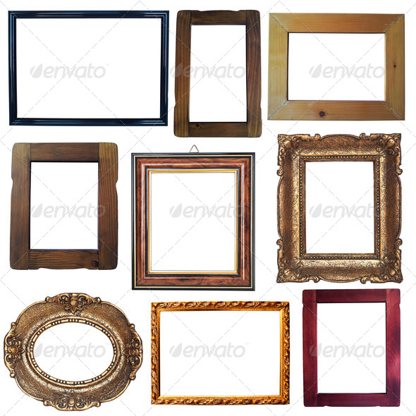 Collection of vintage wooden and golden empty frames isolated on - Stock Photo - Images