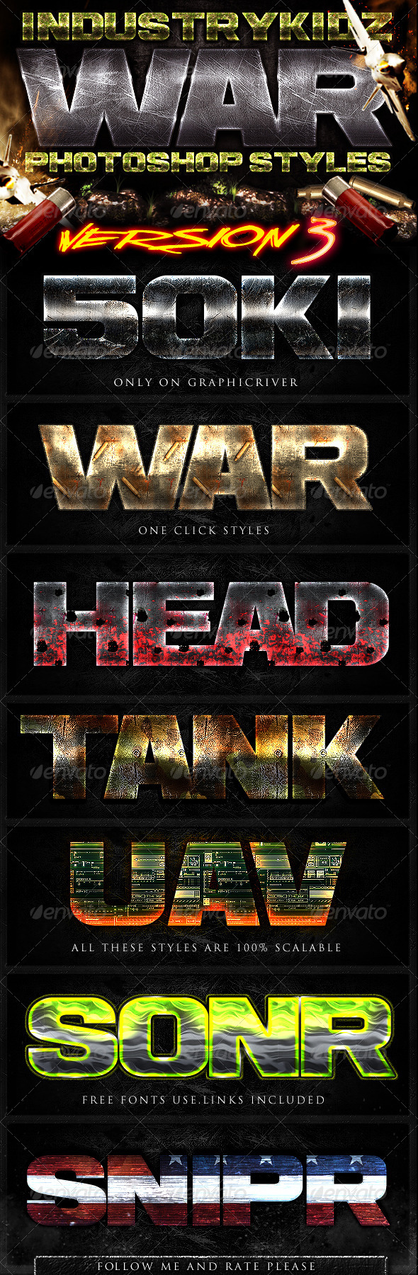 War Photoshop Layer Styles V3 - Text Effects Styles