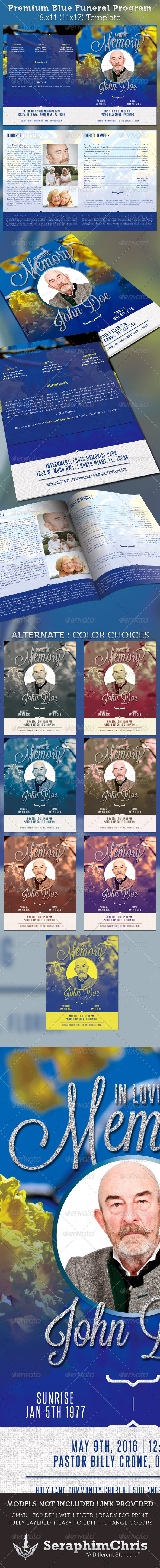 Premium Blue Funeral Program Template - Church Flyers