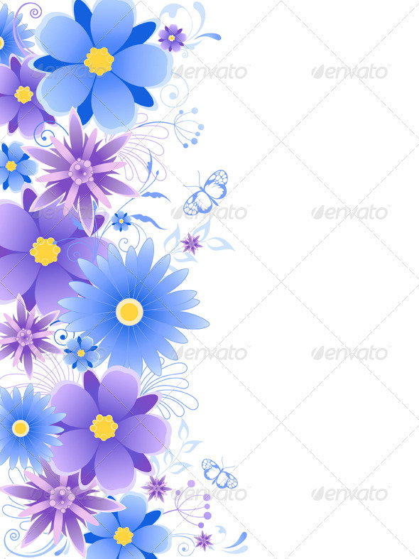 Floral Background  with Blue Flowers - Flourishes / Swirls Decorative