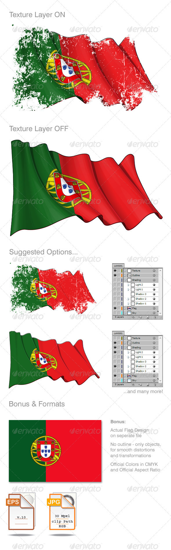 Portugal Flag Grunge - Backgrounds Decorative