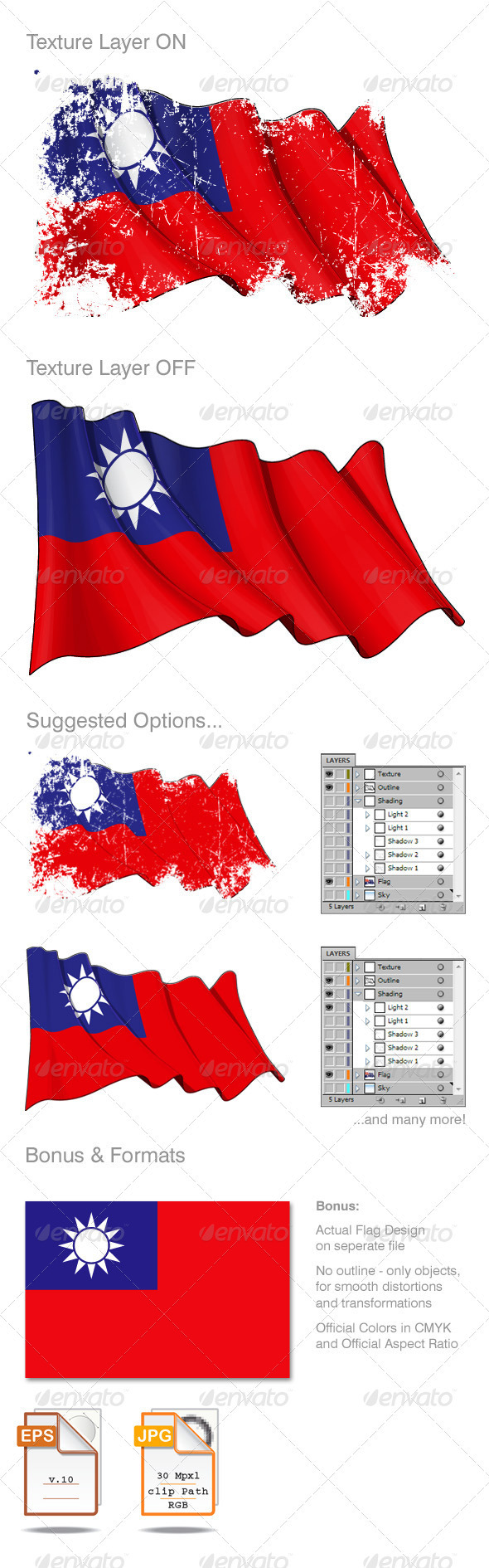 Taiwan Flag Grunge - Backgrounds Decorative
