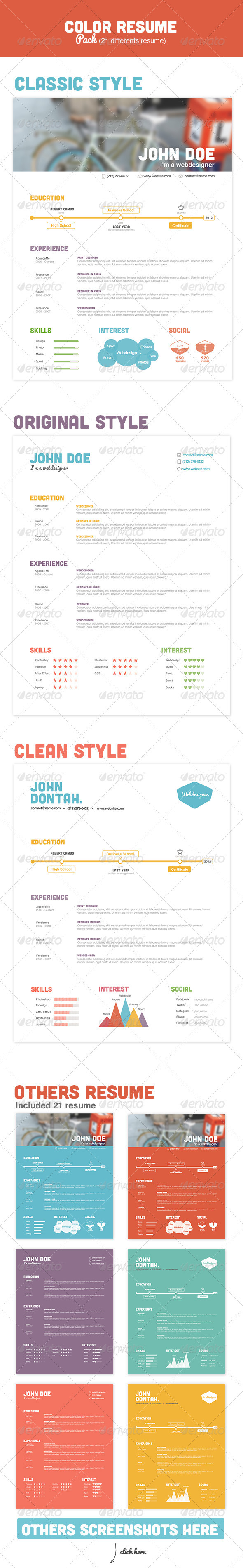 Color Resume Pack - Resumes Stationery