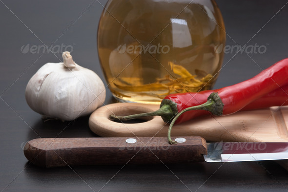 garlic and red chili peppers - Stock Photo - Images