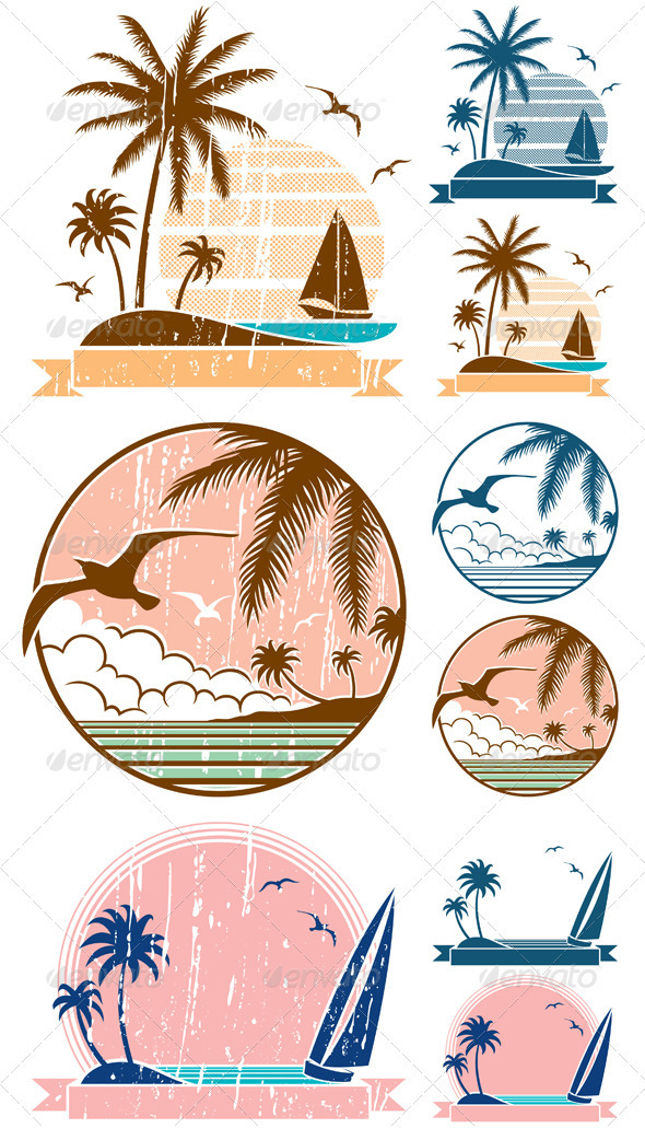 Beach Symbols - Travel Conceptual