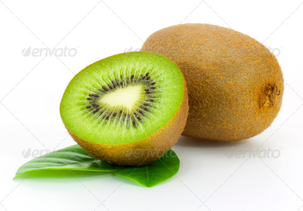 fresh kiwi fruit and leaves isolated on white - Stock Photo - Images
