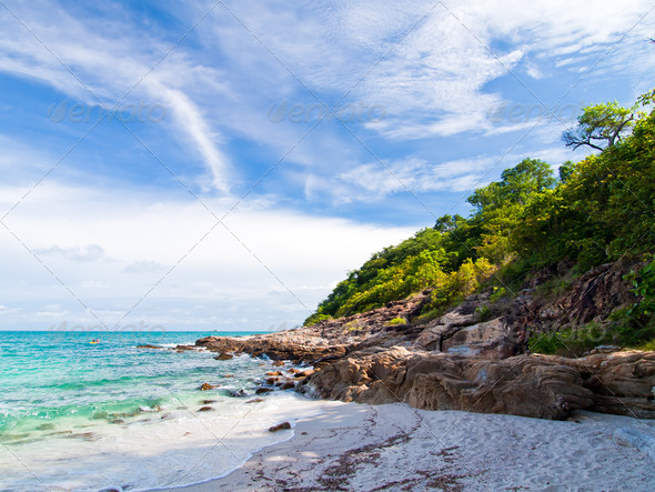 Idyllic Scene Beach at Samed Island,Thailand - Stock Photo - Images