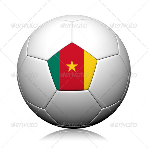 Cameroon Flag Pattern 3d rendering of a soccer ball - Stock Photo - Images