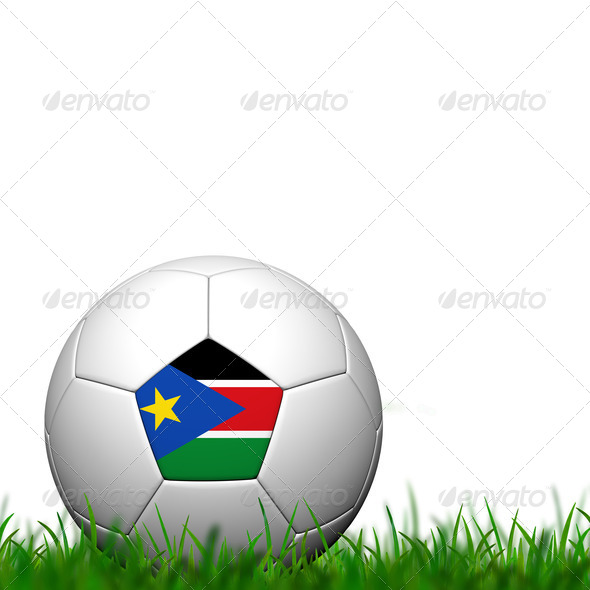 3D Soccer balll Sudan Flag Patter on green grass over white back - Stock Photo - Images
