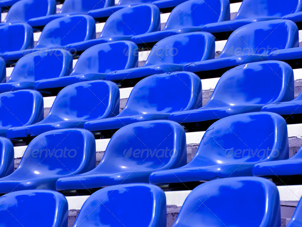 regular Blue seats in a stadium - Stock Photo - Images