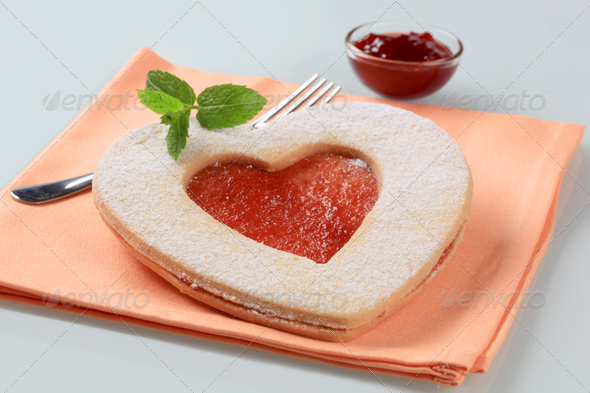 Heart shaped shortbread cookie - Stock Photo - Images