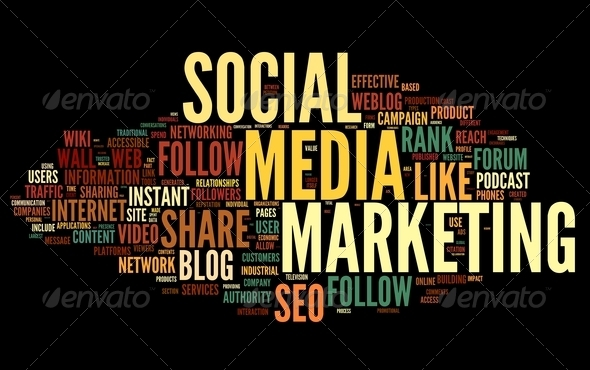 Social media marketing in tag cloud - Stock Photo - Images