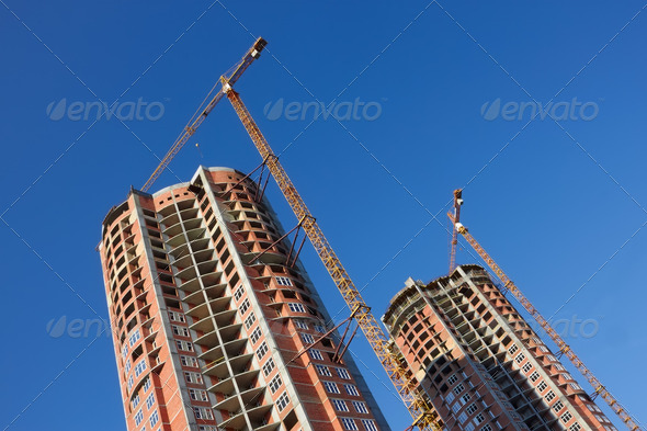 Construction of two parallel skyscrapers - Stock Photo - Images