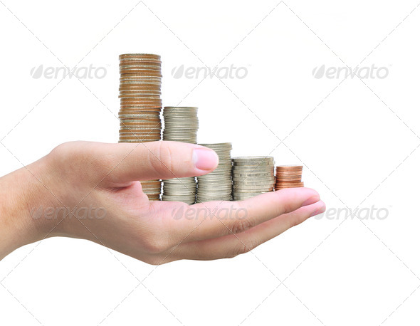 women hand holding coin thai bath - Stock Photo - Images