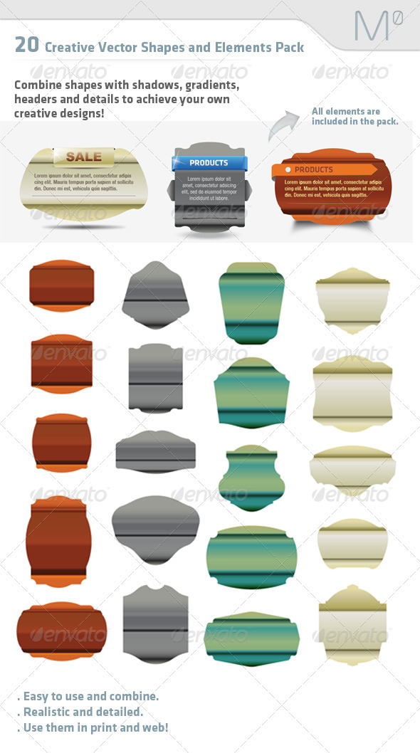GraphicRiver 20 Creative Vector Shapes and Elements Pack 2599405