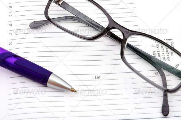 pen and glasses - Stock Photo - Images