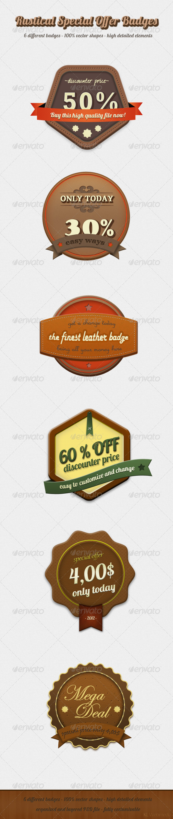 Rustical Special Offer Badges - Badges &amp; Stickers Web Elements