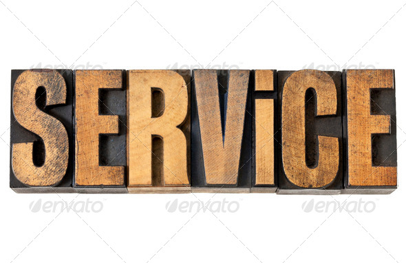 service word in wood type - Stock Photo - Images