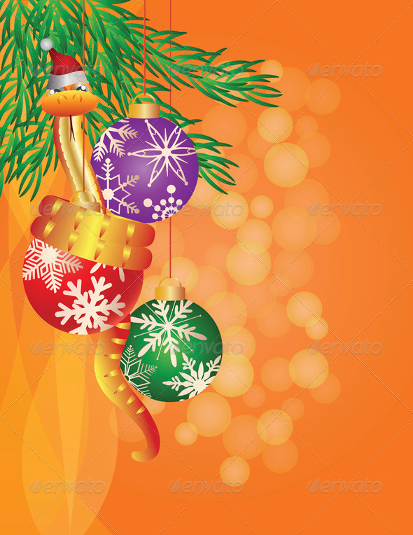 Happy New Year Snake on Christmas Ornaments Illustration - Stock Photo - Images