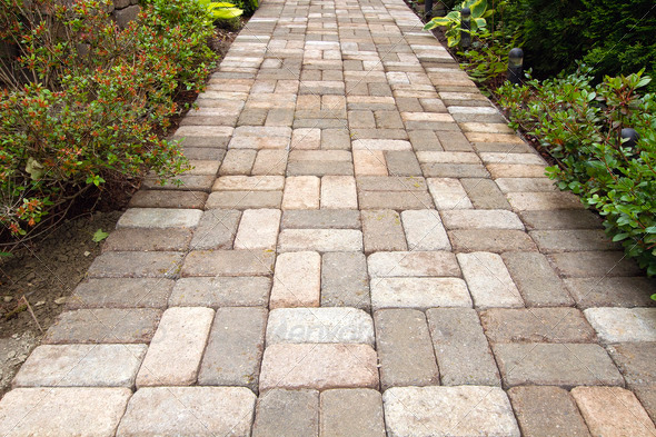 Garden Brick Paver Path Walkway - Stock Photo - Images
