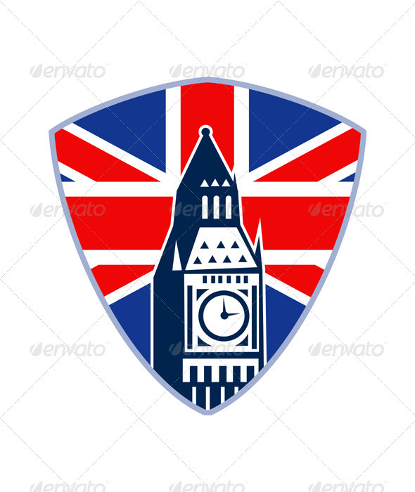 Big Ben British Flag Shield - Man-made objects Objects