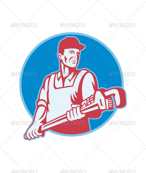 GraphicRiver Plumber Worker Monkey Wrench Retro 2606221