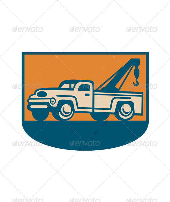 Vintage Tow Wrecker Pick-up Truck : Vectors : Objects ...