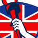 Hand Holding Flaming Torch British Flag - GraphicRiver Item for Sale
