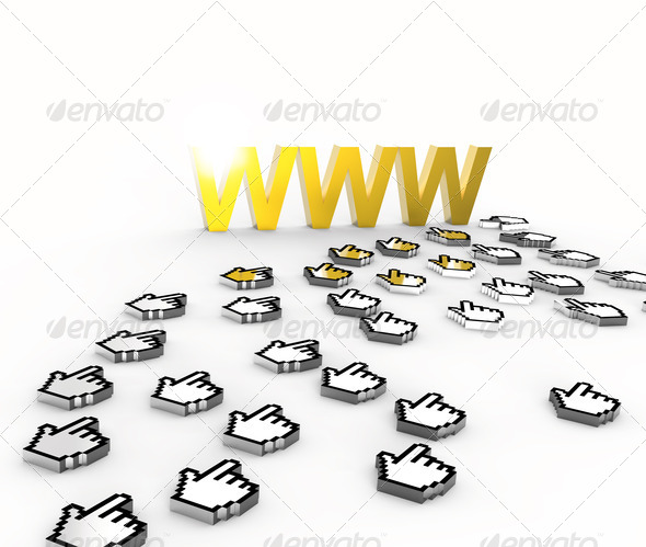 Internet golden World Wide Web - Stock Photo - Images