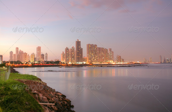 Shoreline of Panama City Beach at sunset - Stock Photo - Images