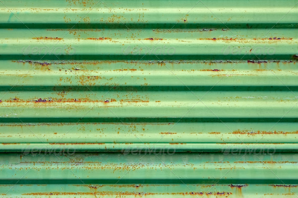 Rusty metal surface painted in green - Stock Photo - Images