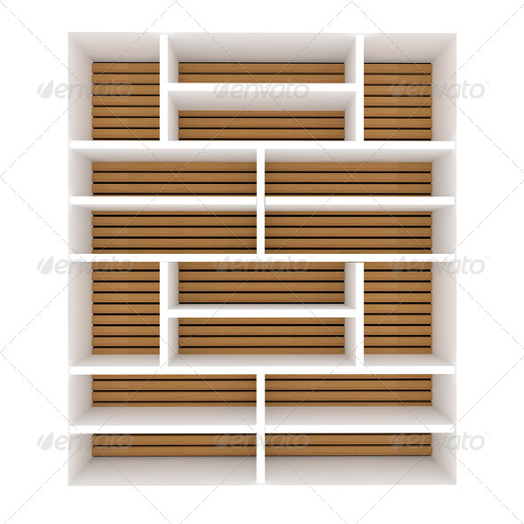 Empty white shelves - Stock Photo - Images