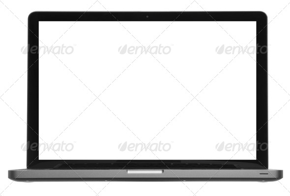 Laptop or computer isolated on white - Stock Photo - Images